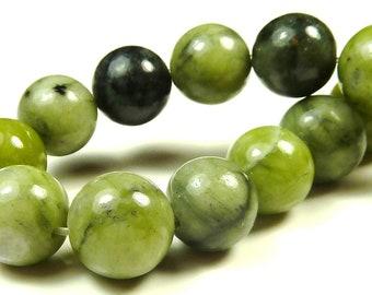 Green Serpentine Round Natural Gemstone Beads - 20pcs - 10mm to 11mm - Olive Green, Dark Green, Jungle Jasper - BC21