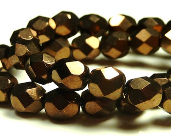 6mm Dark Bronze Czech Glass Beads - 6 Inch Strand (25) - Round, Opaque, Faceted, Fire Polished, Deep Brown - BD13