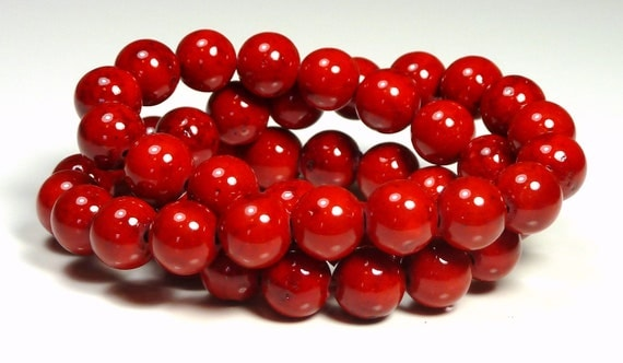 6mm Cherry Red Fossil Stone Round Beads - 16 Inch Strand - BA6