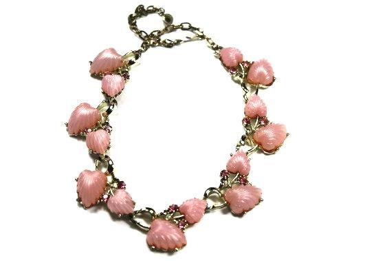 Vintage pink necklace thermoset heart shaped