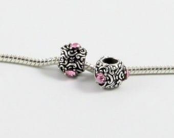 3 Beads - Pink Scroll Rhinestone Silver European Bead Charm E0548