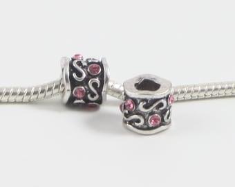 3 Beads - Pink Swirl Silver European Charm Bead E0594