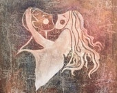 "Original Love Painting, Whimsical Art, Modern Decor, Romantic Wall Art, 18 X 24, ""Love More"""