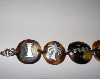 Unique Faux Turtle Shell Inlaid Bracelet