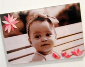 Magnet Picture Frame, Decoupage Magazine Paper Flower Collage, 4x6, Pink Flowers