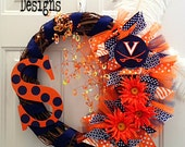 Virginia Cavaliers Team Wreath With Initial