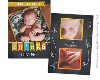 Thanksgiving Photo Card Photoshop template - Note of thanks - E573