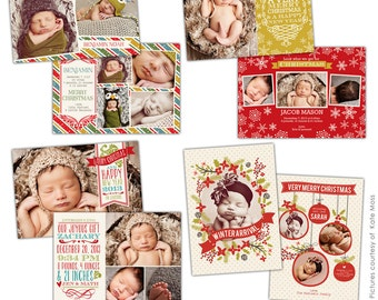 INSTANT DOWNLOAD - Christmas Birth Announcements templates - Christmas surprises - E630