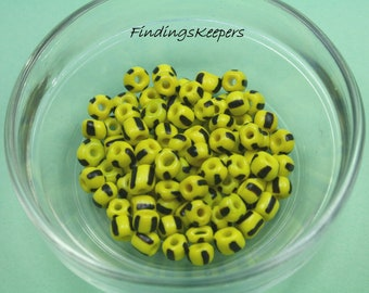 100 - 4 mm Yellow Glass Beads  4b011
