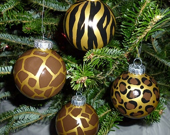 Leopard, Zebra and Giraffe Ornaments - Set of 4