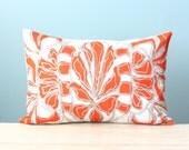 Pillow Cushion Cover Decorative Throw Linen 12x16 Lumbar Floral Design Dark Orange Gray Concrete Hand-Printed Screen Print Custom
