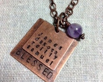 """Handstamped Necklace, Copper """"BLESSED"""" Square & Personalized Square with up to 4 Names, Great for Mother or Grandmother Gift, For Holidays"""