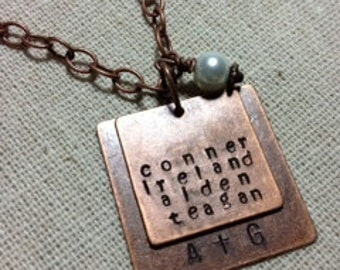 Handstamped Necklace, Mommy Jewelry Double Personalized Copper Squares with Initials & Up to 4 Names, Plus Pearl or Natural Bead