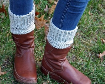 Teen - Adult Boot Cuff Warmers - Off White Tweed Yarn - Handcrafted