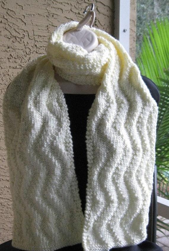 Cream cable scarf