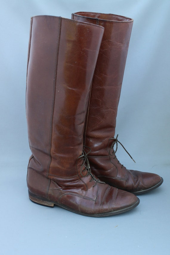 Vintage Tall Brown Leather Lace Up Riding Boots // 7.5 8