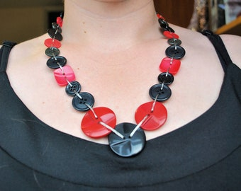 Red and Black Recycled Plastic Button Necklace (One-of-a-Kind)