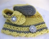 Baby Girl Infant Shoes / Slippers / Booties and Hat Grey & Yellow SET - YOUR choice size - (newborn - 12 months) - photo prop - children