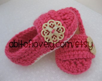 Baby Infant Girl Shoes / Slippers / Booties - Cream & Pink Shell - YOUR choice size - (newborn - 12 months) - photo prop - children
