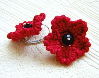 Red crochet  flower earrings .