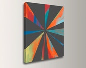 """Modern Art - Geometric Art - Grey Orange and Teal - Canvas Print of Original Acrylic Painting - Abstract Wall Decor - """"Juncture"""""""