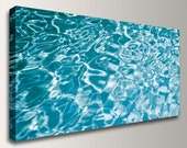 "Abstract Color Photography - Water Photo Panorama - Canvas Print - Panoramic Photo - Aqua Teal Blue Decor - "" Ripples """