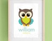 DIY (you print) Nursery decoration - Personalized name art, owl, nursery decoration, boy room