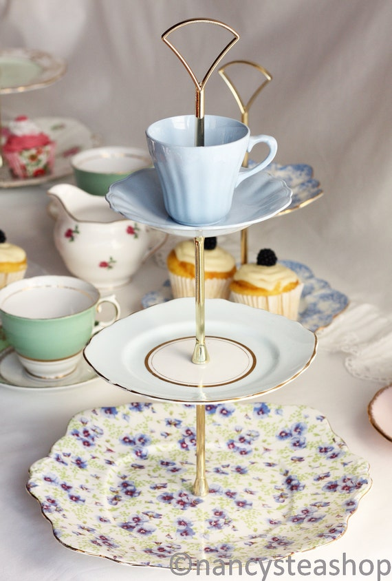 Pretty pansies 3 tier cake stand mad by nancysvintagechina for Pretty cake stands