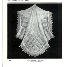 Vintage pdf Knitting Pattern Templetons 106 Shetland Shawl - 2 ply / fingering   Baby Shawl