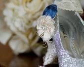 ON SALE/SET-Silk Wedding Garters- Something Blue