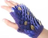 "Dragon Scale Gloves Gauntlets Short Purple Silver - ""Drops of Jupiter"""