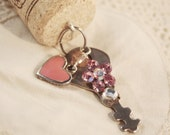 FREE SHIPPING Wine Cork Keychain Vintage Key - Pink Heart and Flower Rhinestone Chain