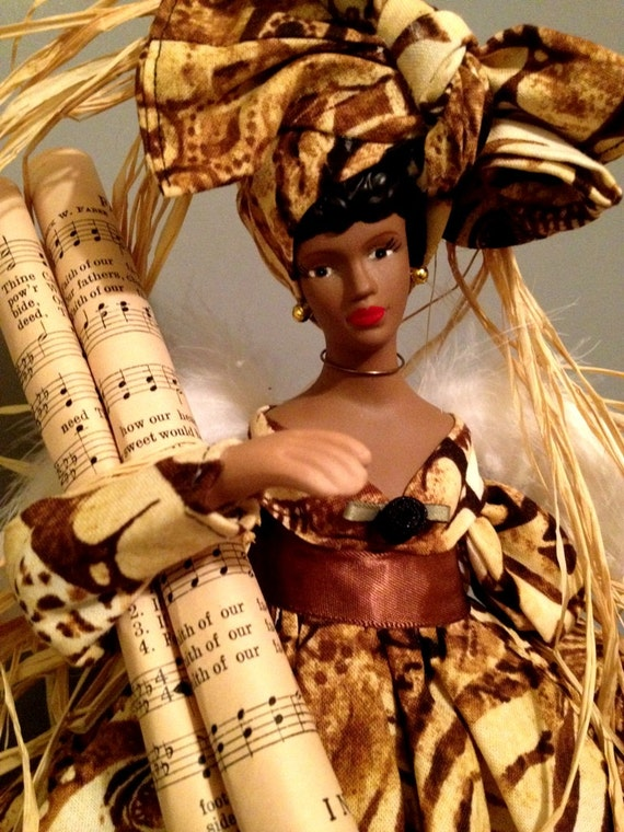 African American Praise Doll Angel, Christmas Gift, Music inspired Afrocentric Angel, Free Personalization