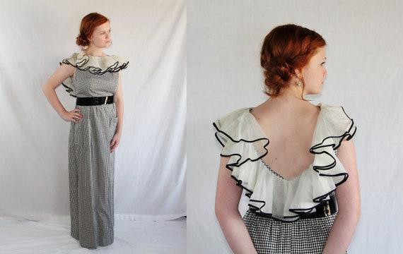 Victor Costa Dress / Wedding / Bombshell / Prom / Maxi Dress / Gingham / 70s