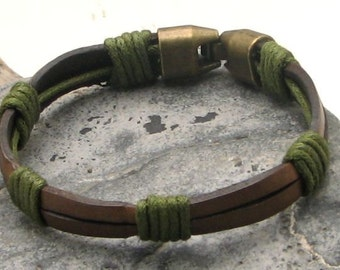 EXPRESS SHIPPING Men's leather bracelet Brown double flat straps leather bracelet with antique brass plated clasp
