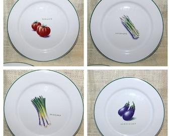 s/4 Ulster Ceramics White w Green Salad / Dessert  Plate w Vegetable Designs