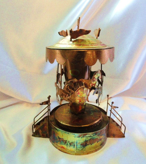 Tin Burnished metal carousel Music Box, In the Good Ole Summer time, by Tokang, Japan