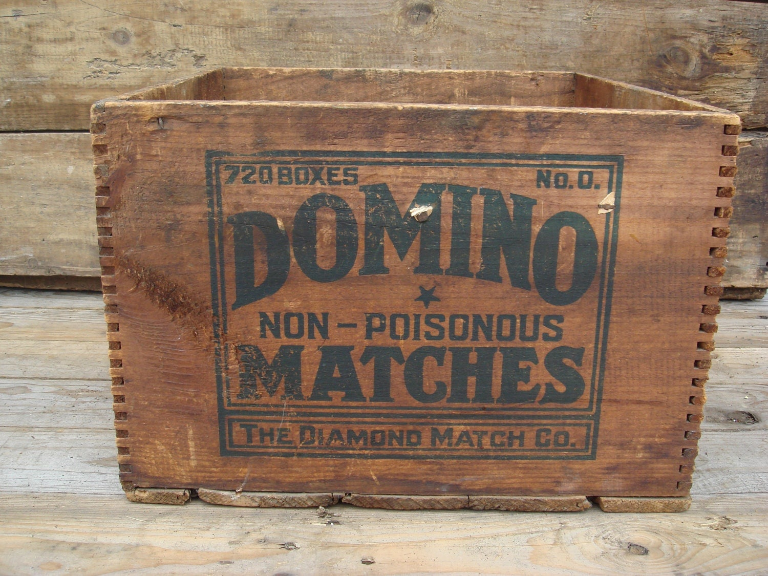 Rare Antique Vintage Wood Crate Domino Matches Wood Box The