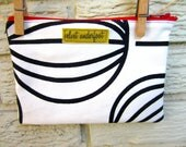 Modern Black and White Upcycled Zipper Bag with Red Zipper and Yellow Lining. Black Friday/Cyber Monday/Free Shipping /Gifts under 25