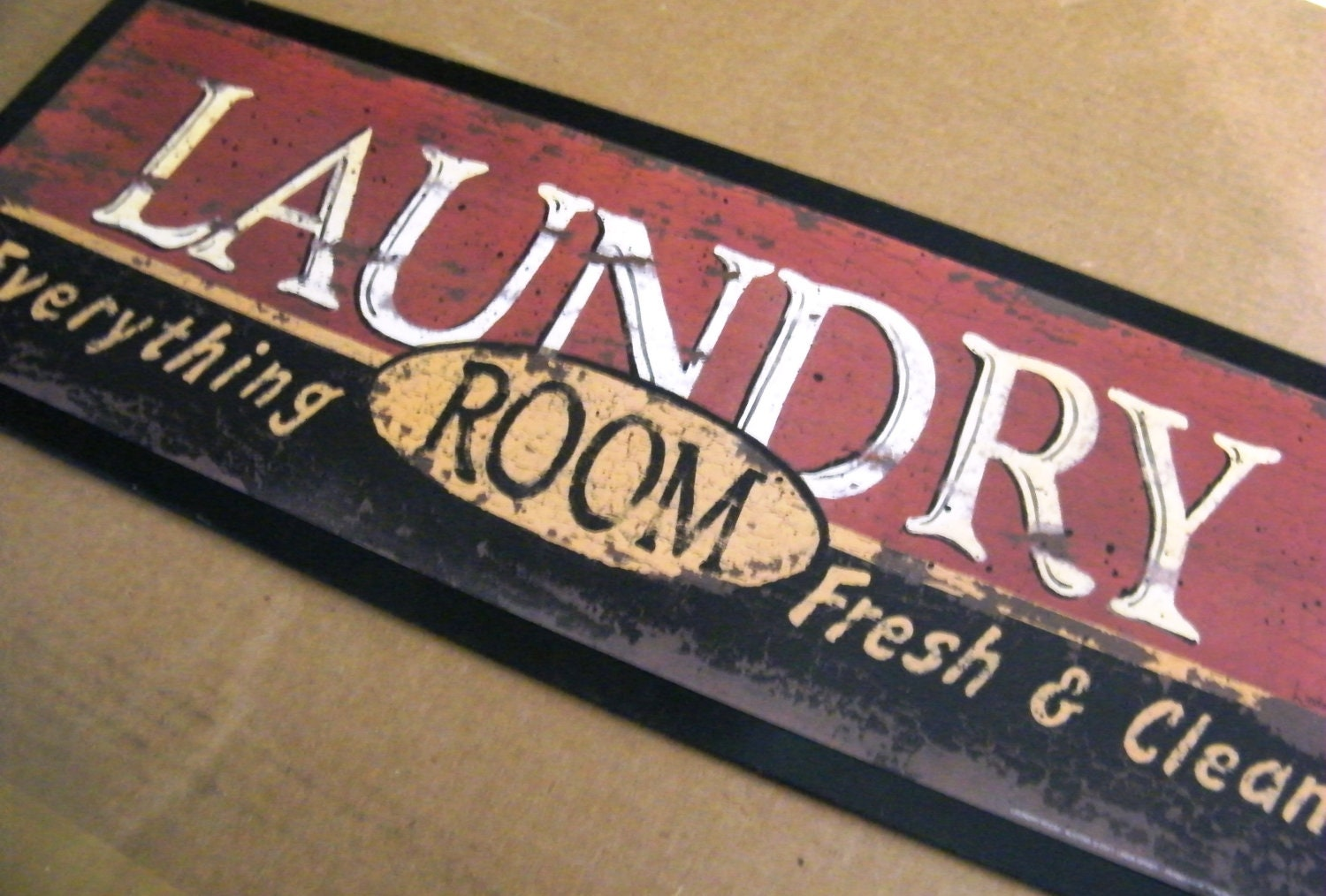 Retro Country Primitive Vintage Laundry Room Sign Fresh Clean