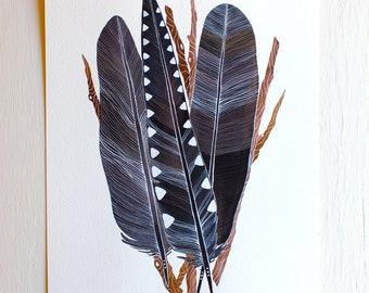 Crow Feather Bundle - Archival Print - Watercolor Art