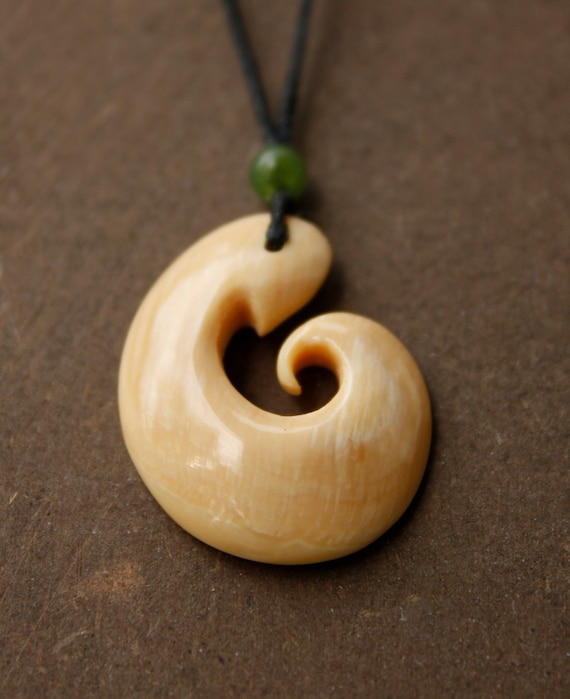 Hook Necklace Fossil Mammoth Ivory Carved Bone Necklace