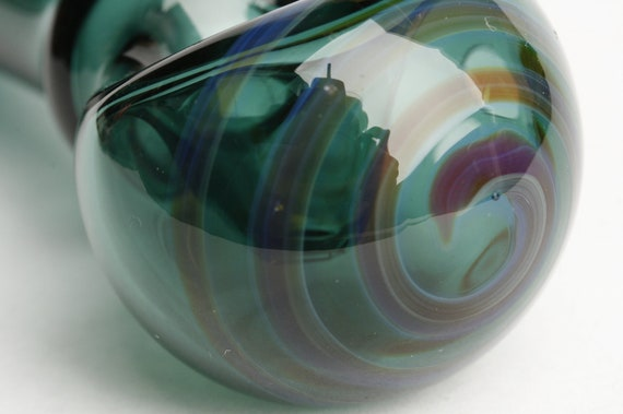 Hand Blown Glass Pipe - Teal Pocket Spoon