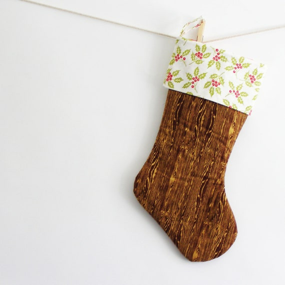 christmas stocking, holly band, modern woodgrain christmas stocking. holiday decor. woodland inspired christmas decor.
