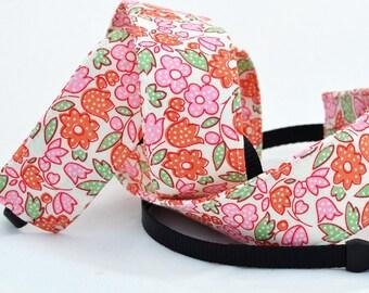 Pink and Orange Floral - Nikon dSLR Camera Strap - dSLR Camera Strap, Digital Camera Strap