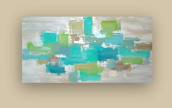 """RESERVED. Original Acrylic Abstract Painting Titled: SEA GLASS.  24x48x1.5"""" by Ora Birenbaum"""