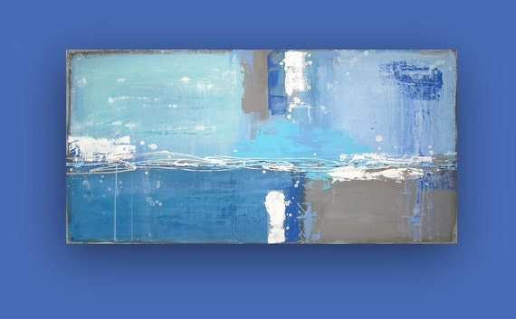 Blue and Gray Abstract Acrylic Painting Titled: DENIM BLUES 24x48x1.5""