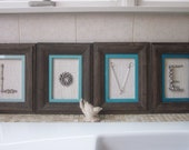 LOVE Frames with Vintage Jewelry and Crystals