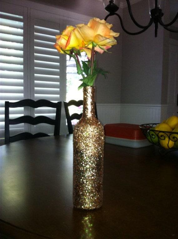 Ombre Glitter Wine Bottle Vase