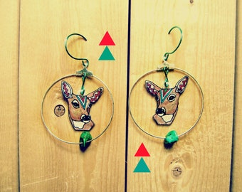SALE Deer Earrings / Doe / Chevron Earrings / Hoop Earrings / Turquoise / Woodland Animal / Zig Zag / Shrink Plastic Jewelry